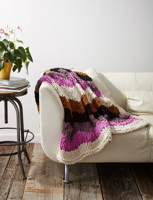 Rolling Waves Knit Throw