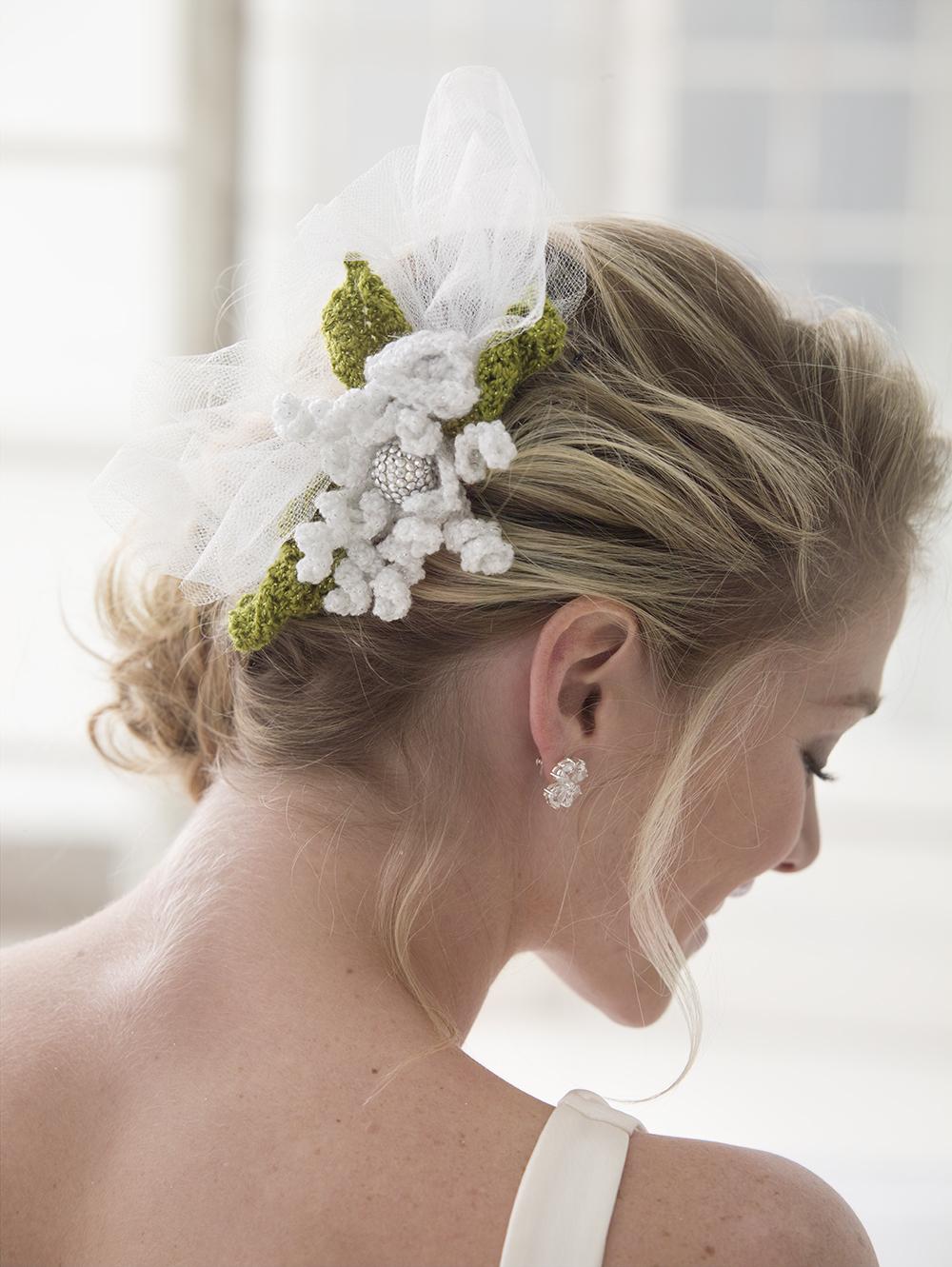 Exquisite Crochet Flower Hair Slide | AllFreeDIYWeddings.com