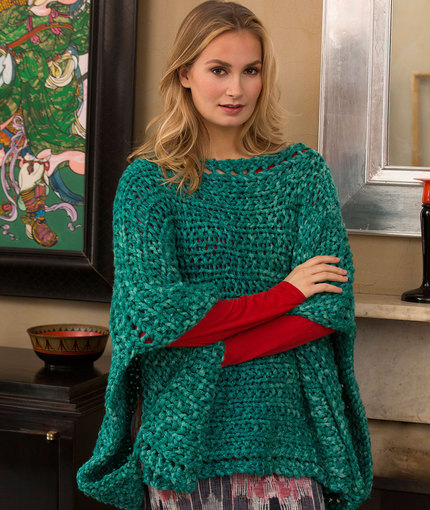 Easy Knitting Patterns For Beginners Poncho : Shimmering Jade Knit Poncho AllFreeKnitting.com