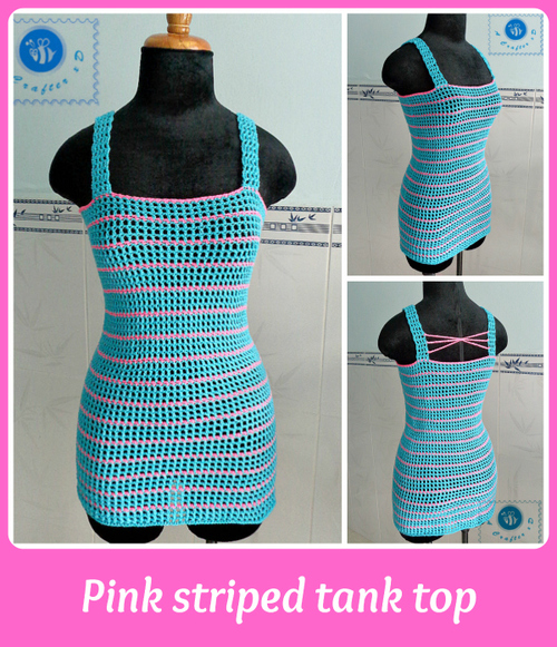 Pink Striped Crochet Tank Top