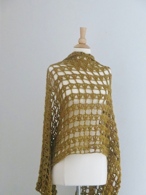 Golden Lacy Crochet Shawl