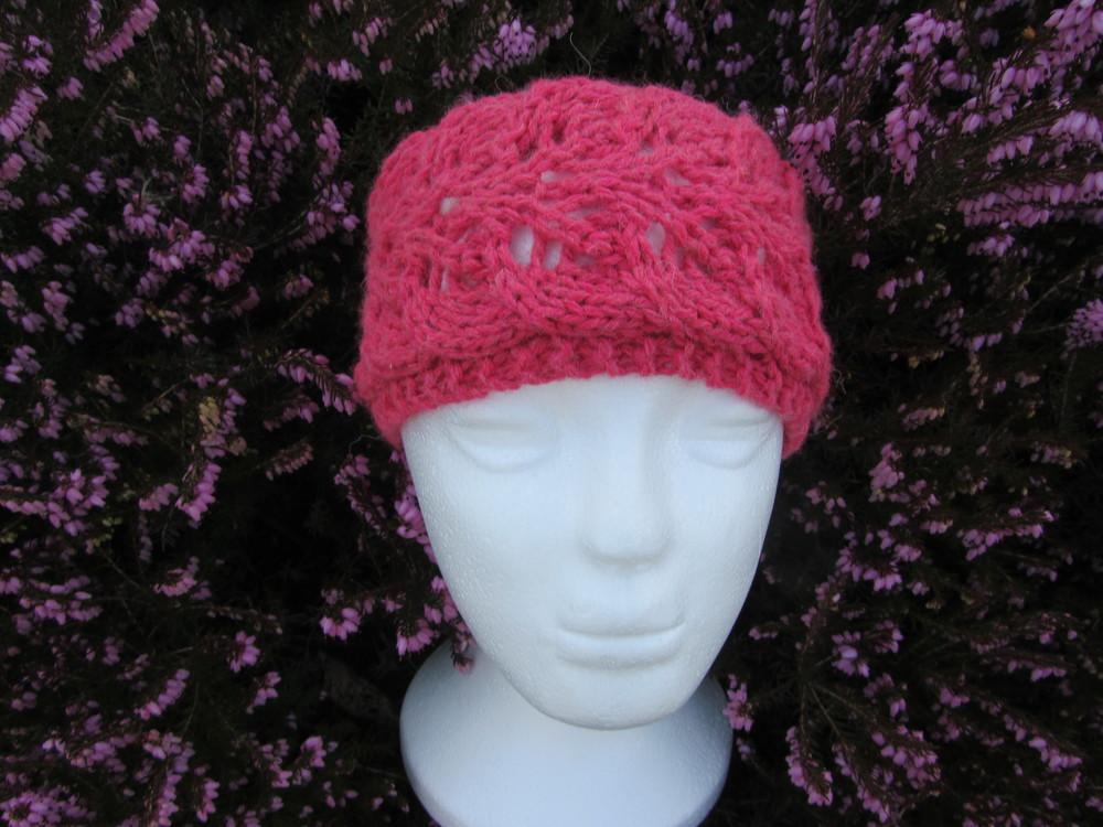 Lace Headband Knitting Pattern Free : Twin Leaf Lace Headband AllFreeKnitting.com