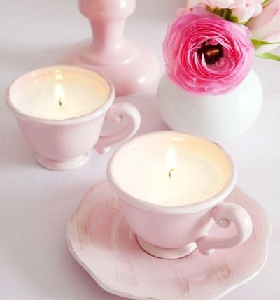 Pastel Pink Tea Party Candles