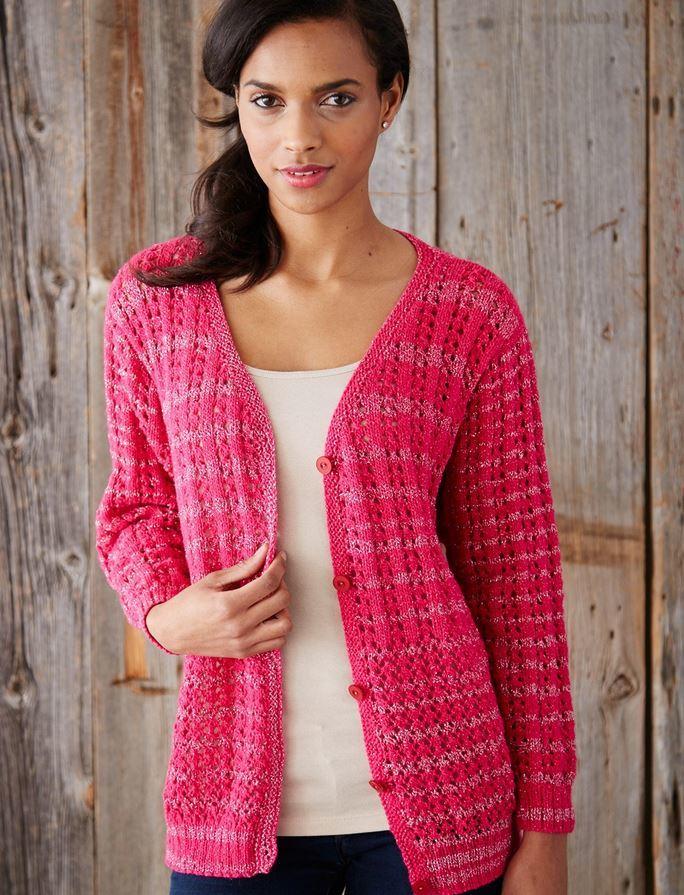 Free Knitting Pattern Ruffle Cardigan : Love and Lace Knit Cardigan AllFreeKnitting.com