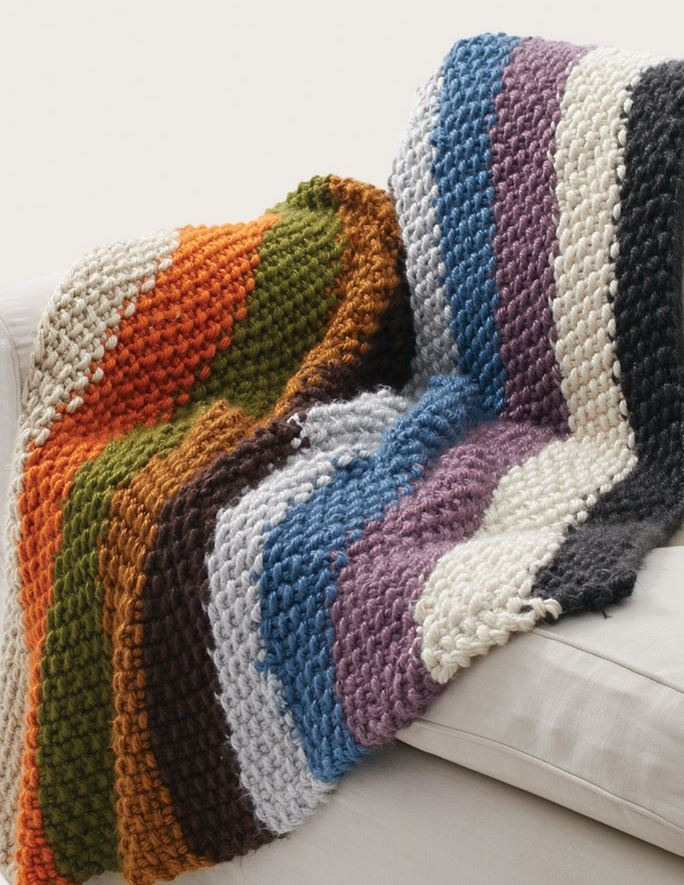 Easy Knit Patterns For Blankets : Simple Striped Seed Stitch Afghan AllFreeKnitting.com