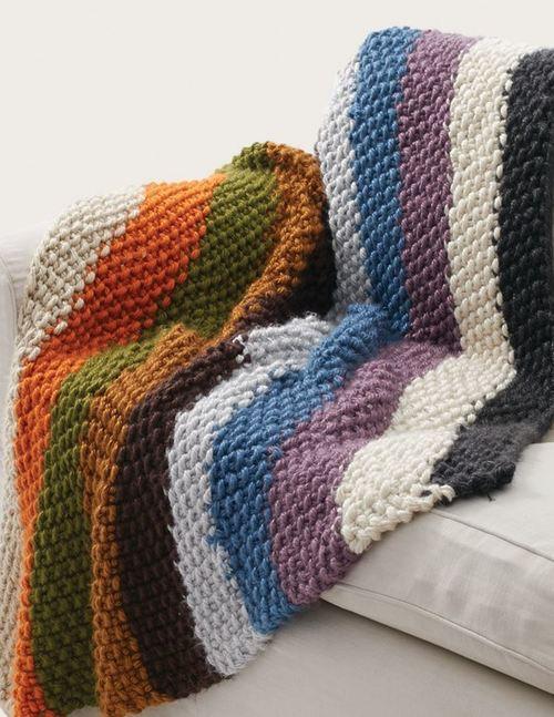 Simple Striped Seed Stitch Afghan Allfreeknitting Com