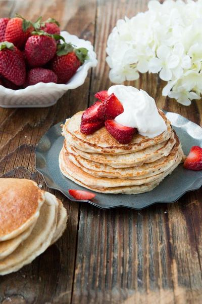 Skinny Strawberry Gluten Free Pancakes