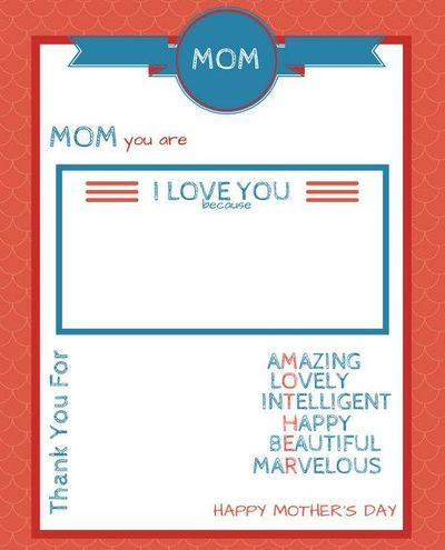 Mothers Day Printable Fill-in-the-Blank Card
