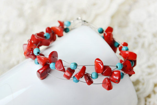 Turquoise and Coral Criss Cross Bracelet