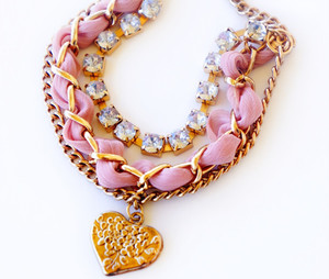 Lovely Silk and Chain Bracelet