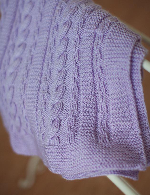 Dusty Lavender Cable Blanket AllFreeKnitting.com