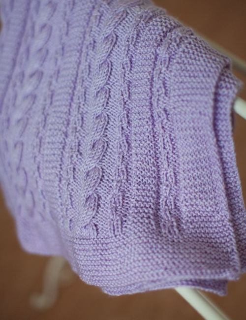 Dusty Lavender Cable Blanket 2