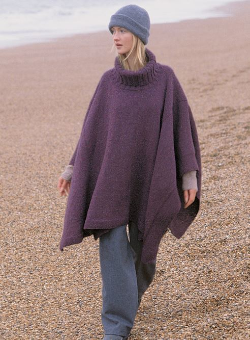 Turtleneck Knit Poncho