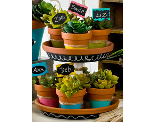 Chalkboard Label Tiered Stand and Pots