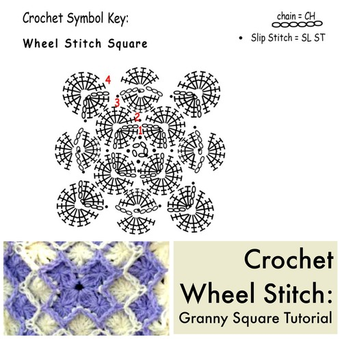Crochet Wheel Stitch Granny Square