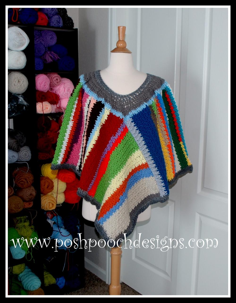Scrap Happy Crochet Poncho AllFreeCrochet.com