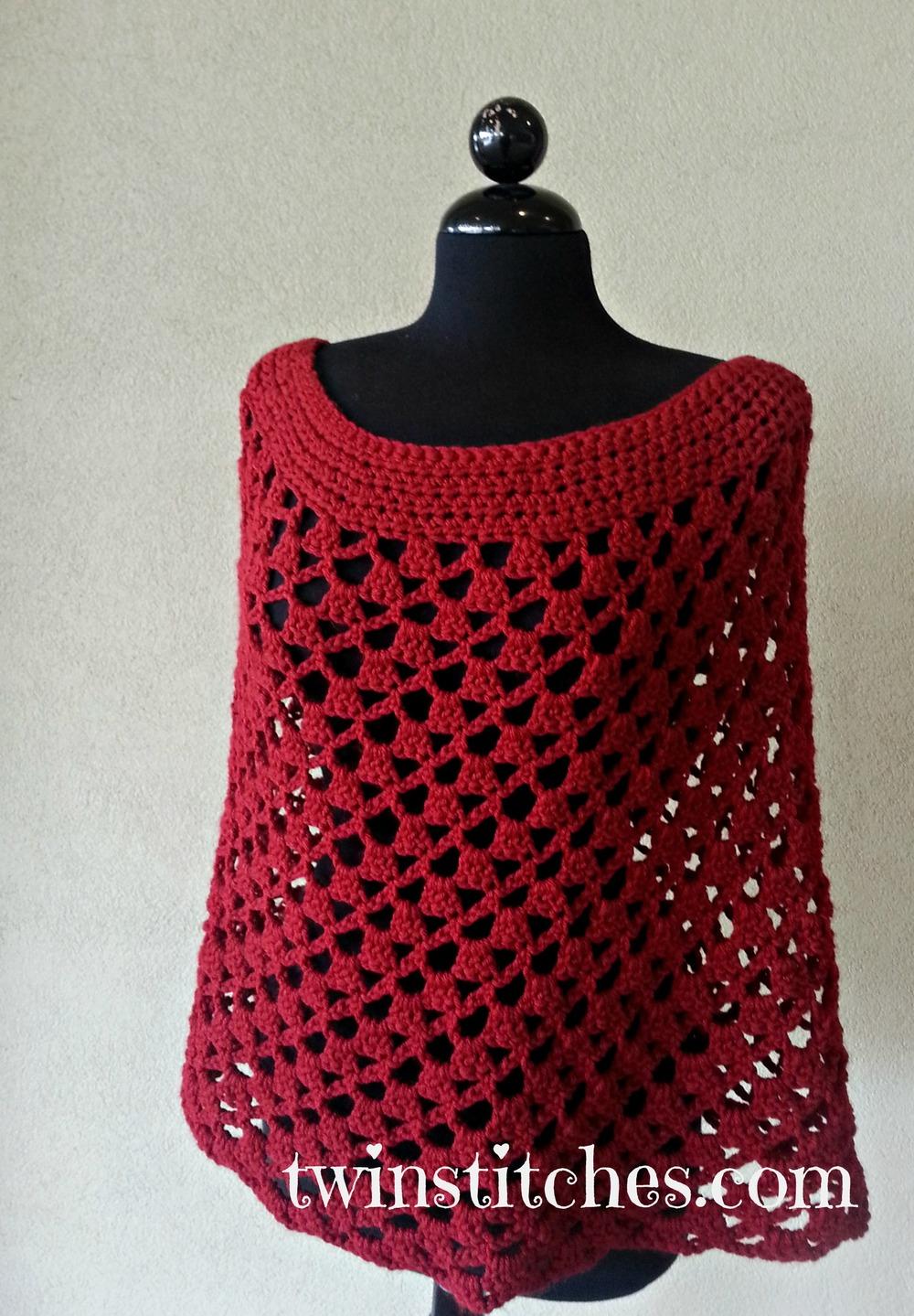 Free Crochet Pattern Mens Poncho : Scarlett Spiral Crochet Poncho AllFreeCrochet.com
