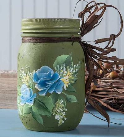 Blue Rose Mason Jar Centerpiece