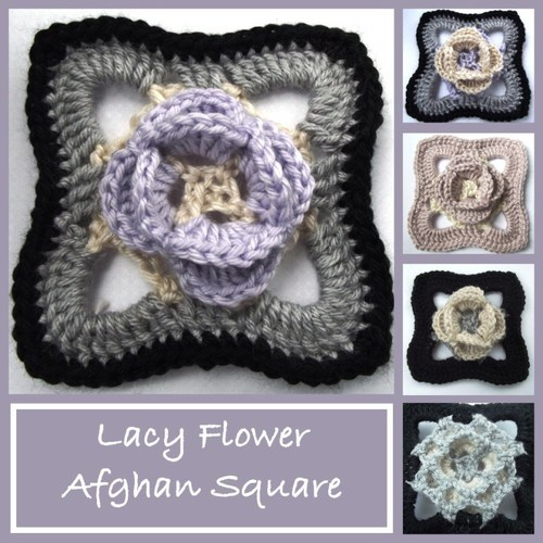 Center Flower Afghan Square