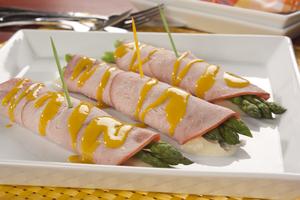 Cheesy Asparagus Ham Rollups