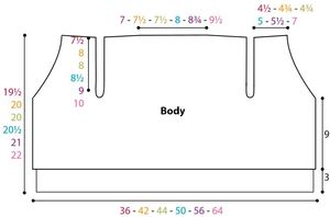 Walk in the Park Cardi Body Diagram