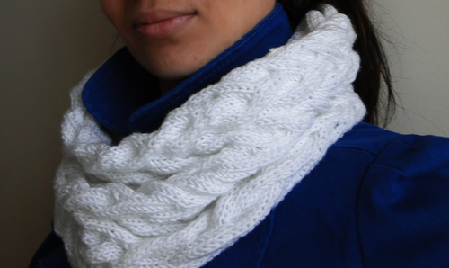 White Cabled Cowl