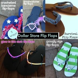 Dollar Store Flip Flops 5 Ways