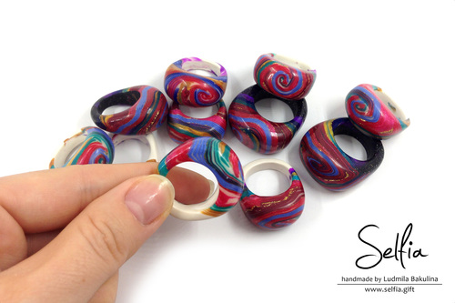 Bright Polymer Clay Rings