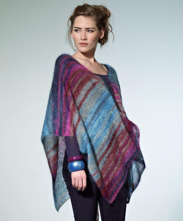 Beginner Knitting Poncho : Tranquil dusk poncho allfreeknitting