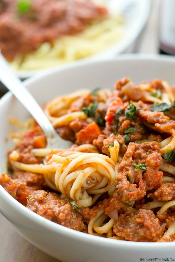 Italian Beef Bolognese Slow Cooker Pasta