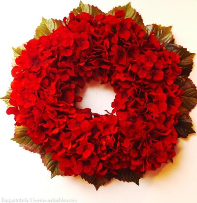 Eye-Catching Red Hydrangea Wreath