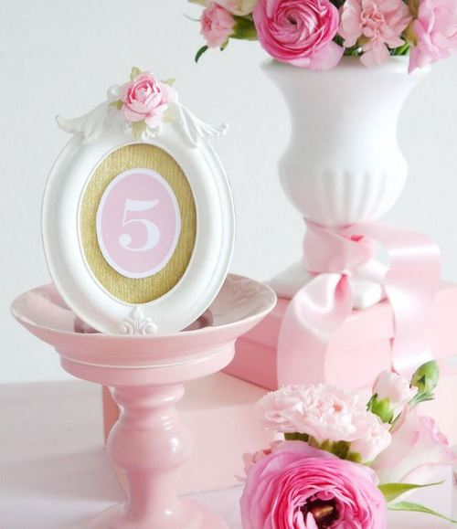 Rosy and Romantic Free Printable Table Numbers