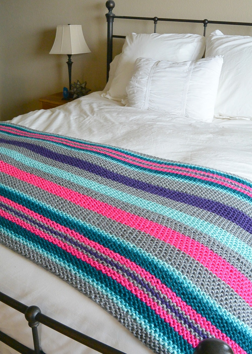 Native Stripes Knit Blanket Allfreeknitting Com