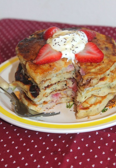 Strawberries and Cream Homemade Pancakes