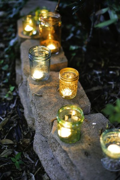 DIY Colored Jar Votives
