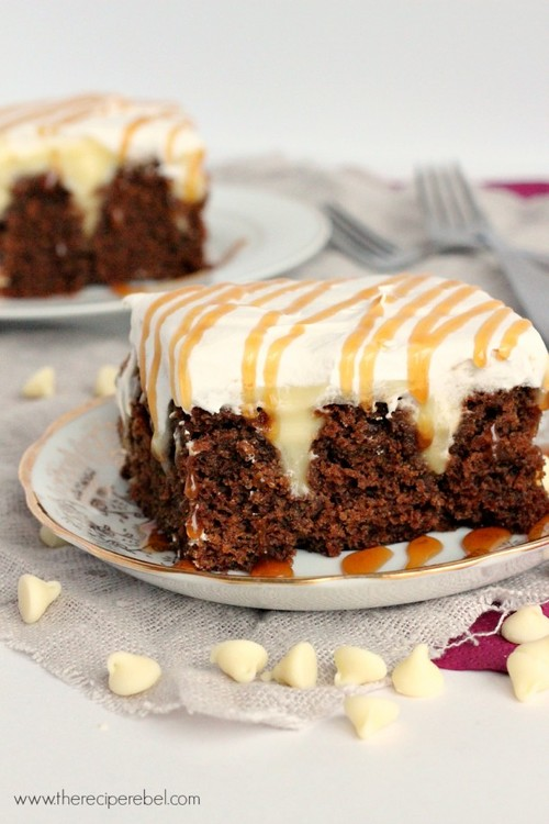 White Chocolate Gingerbread Poke Cake