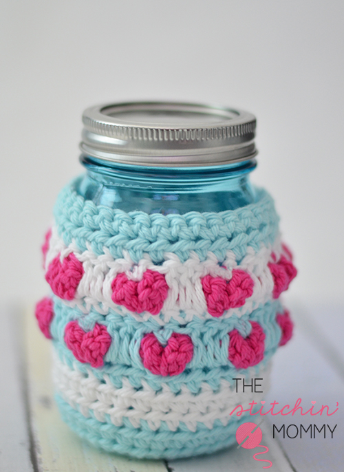 Crochet Heart Mason Jar Cozy