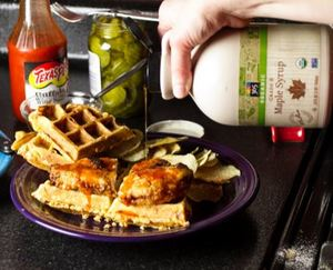 Fried Chicken and Waffles Sandwich