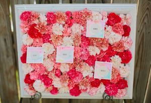 Pink Carnation Escort Card Display