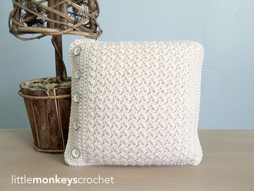 Crochet Buttoned Throw Pillow