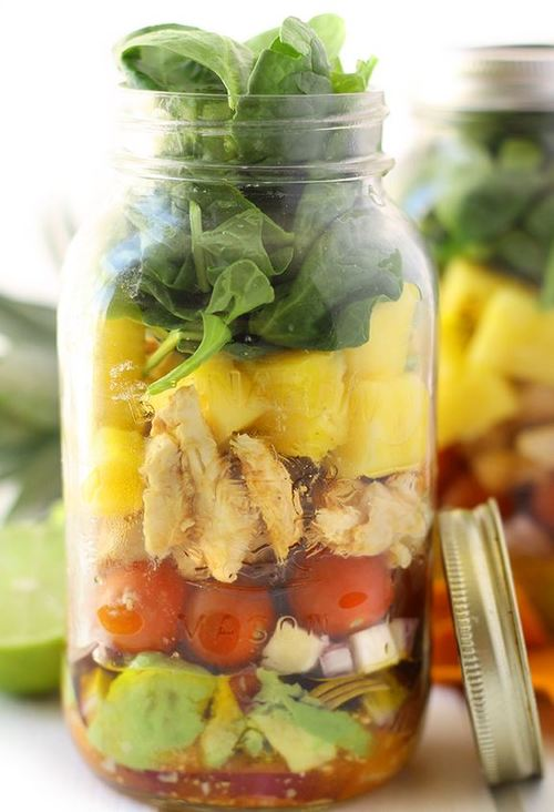 Tropical Sriracha Mason Jar Salad