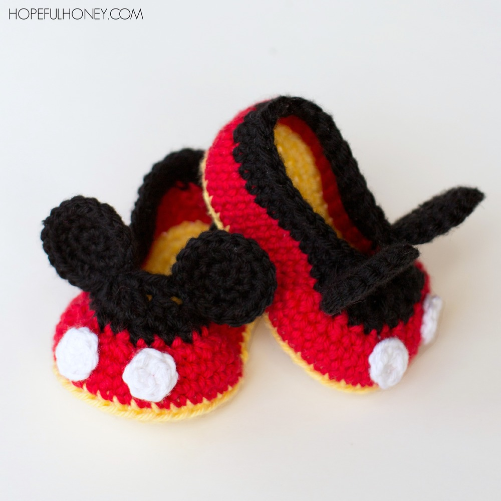 Free Crochet Patterns Dog Boots : Mickey Mouse Inspired Baby Booties AllFreeCrochet.com