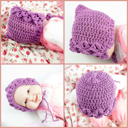 Crocodile Stitch Baby Bonnet