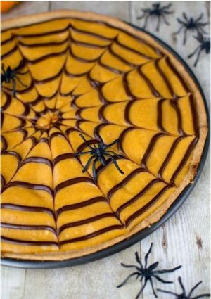 Pumpkin-Spiced Spiderweb Cookie Pizza