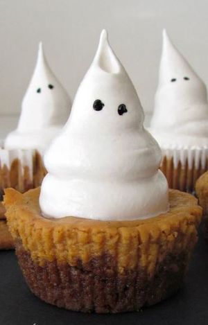Ghost-Topped Pumpkin Cheesecakes