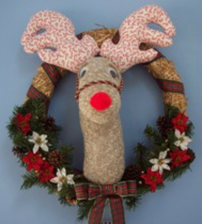 Charming Sock Reindeer Wreath