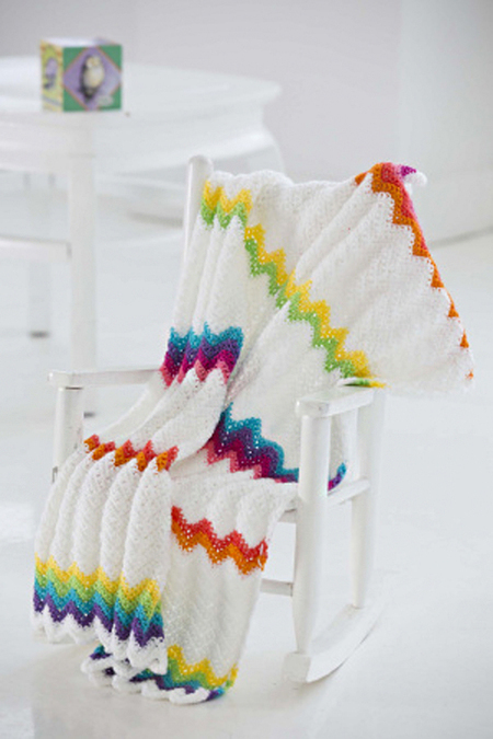 Rainbow Ripple Crochet Baby Blanket