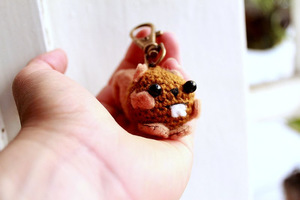 Crochet Amigurumi Squirrel Keychain