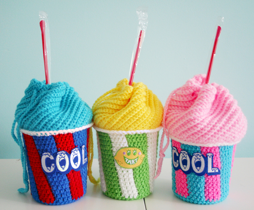 Slushee Cup Crochet Drawstring Bag