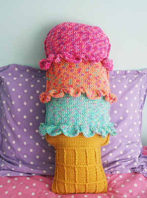 Rainbow Sherbert Crochet Throw Pillow